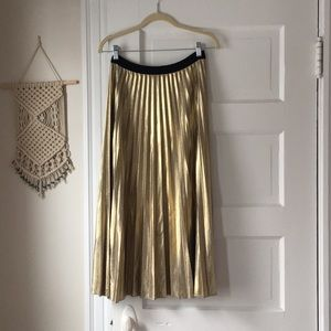 Gold Accordion Pleat Maxi Skirt